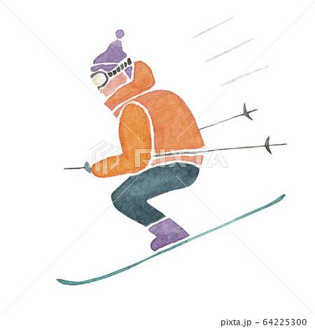 スキー ウィンタースポーツ 人物 水彩 イラスト 64225300