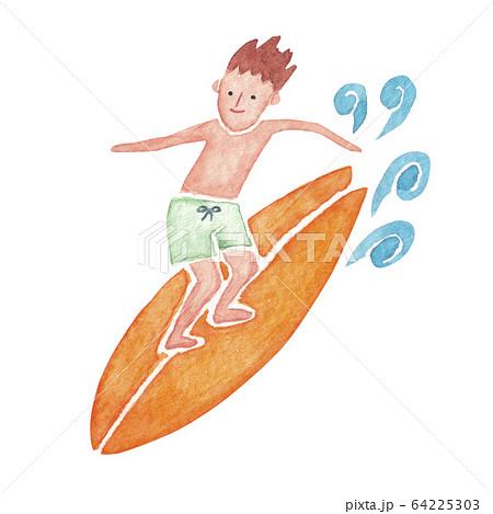 サーフィン 人物 男性 水彩 イラスト 64225303