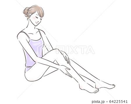 ボディケアをする女性(薄紫) 64225541