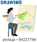 絵を描く女性 64227796