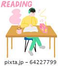 音楽を聴きながら本を読む男性 64227799
