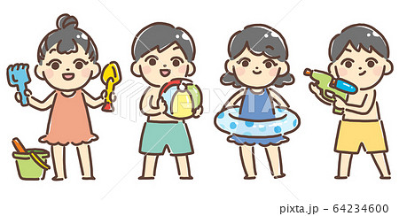 海やプールで遊ぶ子供たち 64234600