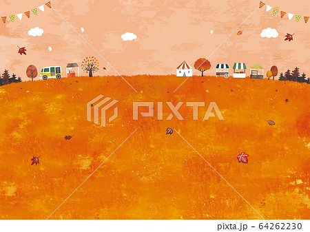 秋の草原とマルシェ水彩 64262230