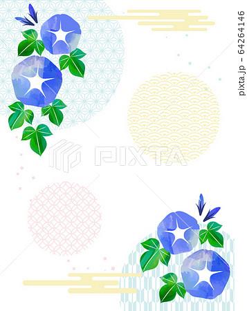 Japanese style frame with morning glory 64264146