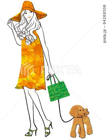 プードルと散歩に出かける帽子をかぶった女性 64269508
