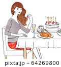 バースディのお食事を楽しむ女性 64269800