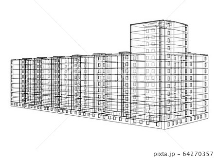 Vector wire-frame model of a multi-storey building 64270357