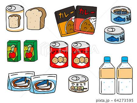 非常食や保存食の缶詰や水、食料、パン 64273595