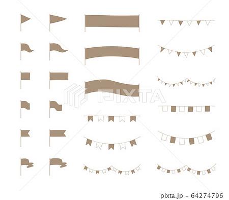 旗のおしゃれな手書き風の見出し装飾・素材/イラスト/フレーム/セット 64274796