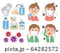新型コロナウイルス インフルエンザ 予防 セット 64282572