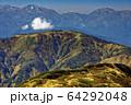 火打山稜線を行く登山者と白馬連峰・雪倉岳・朝日岳の眺め 64292048