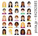 ビジネス向けアバターアイコン 中年の女性 正面 64292885