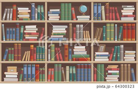 本が並んでいる木製の本棚 64300323