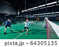 Mixed double playing badminton 64305135