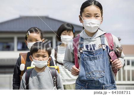 マスク姿で集団登校をする小学生 64308731