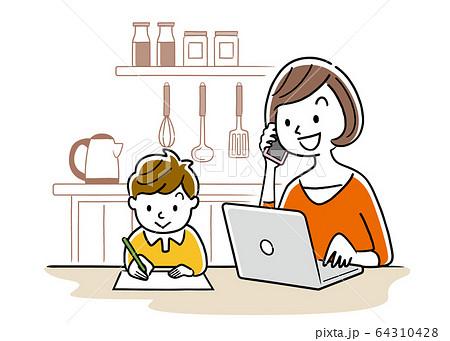 イラスト素材:子どもの横でパソコンを使う若い女性 64310428