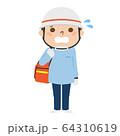 慌ててる男性の救急救命士のイラスト。 64310619