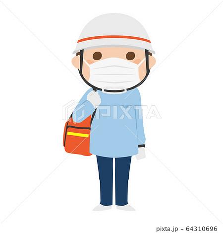 医療マスクをしてる男性の救急救命士のイラスト。 64310696