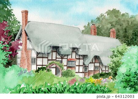 水彩で描いた英国のサッチドハウス 64312003