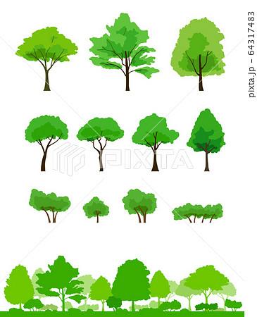 緑の木と風景 イラストセット 64317483