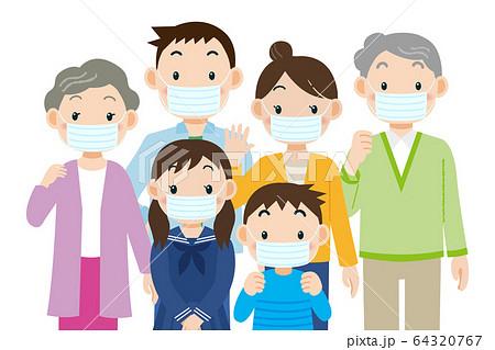 マスクをする家族 64320767