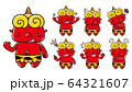 赤鬼のイラスト/表情セット 64321607