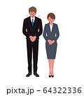 頭を下げるビジネスマンとビジネスウーマンのイラスト 64322336