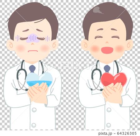 メンタルヘルス についてのイラスト (タッチ やわらかめ) 心労 医師 医者 医療崩壊 白衣 64326305