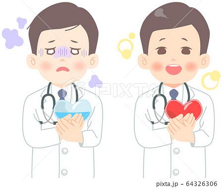 メンタルヘルス についてのイラスト (タッチ シャープめ) 心労 医師 医者 医療崩壊 白衣 64326306