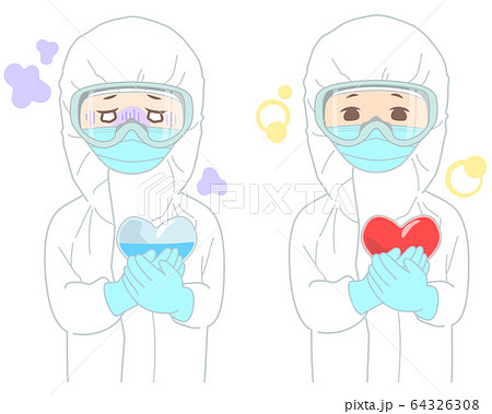 メンタルヘルス についてのイラスト (タッチ シャープめ) ハート 防護服 除染 感染予防 医療崩壊 64326308