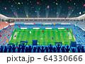 満員のサッカースタジアム・紙吹雪 64330666