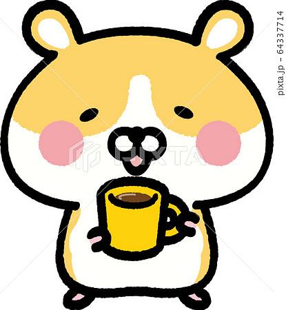 コーヒーを持つゴールデンハムスター 64337714