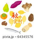 秋の食材 野菜と果物と魚 フレーム タイトル入り 64345576
