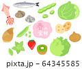 春の食材 野菜と果物と魚 セット 64345585