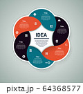 Vector circle infographic. Template for diagram, graph, presentation and chart. Business concept with 6 options, parts, steps or processes. Abstract background 64368577