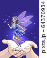 Hands releasing cute fairy with magic wand 64370934