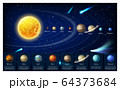 Infographic map of galaxy solar system planets 64373684