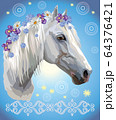 Horse portrait with flowers2 64376421