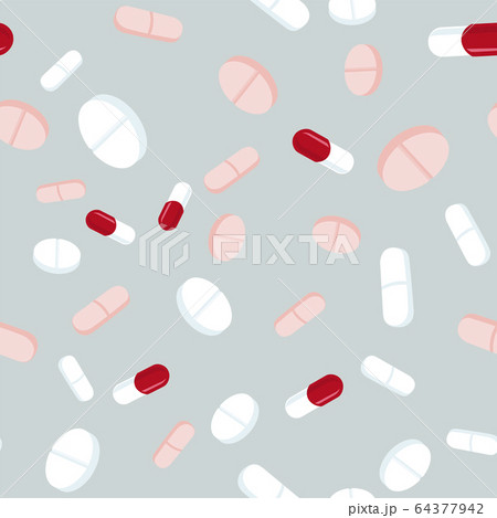 Red and white pills seamless pattern. Medicine 64377942