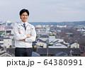 ビジネスマン 建設業 作業員 空 ビジネスイメージ 64380991