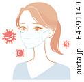 マスクでウイルスを防ぐ女性 64391149