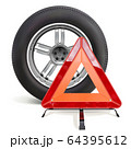 Vector Car Wheel with Triangle Sign 64395612