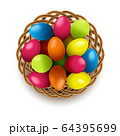 Vector Easter Eggs with Wicker Basket 64395699