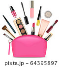 Vector Pink Beautician with Cosmetics 64395897