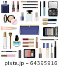 Vector Makeup Cosmetics with Blue Cosmetic Bag 64395916