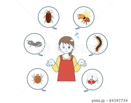 害虫に困る女性のイラスト 64397734
