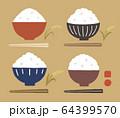 茶碗とご飯とお箸と稲色々カラー 64399570