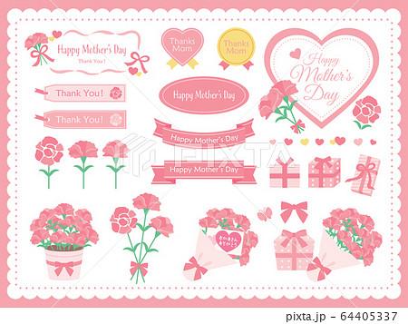 母の日のカーネーションやプレゼントやタイトルのセットイラスト 64405337