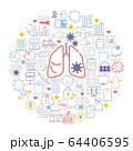 コロナウイルス 感染症対策 アイコン イラスト セット 64406595