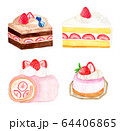 イチゴのケーキ(水彩画) 64406865
